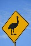 Προειδοποιητικό σημάδι κασουαρίων στο βόρειο Queensland, Αυστραλία Στοκ φωτογραφίες με δικαίωμα ελεύθερης χρήσης