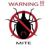 Προειδοποιητικό σημάδι παρασίτων συμβόλων Αράχνη ακαριών Κόκκινο ακαριών Αλλεργία ακαριών επιδημία Παράσιτα ακαριών Στοκ Φωτογραφίες