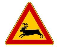 Προειδοποιητικό σημάδι ταράνδων Στοκ Εικόνες