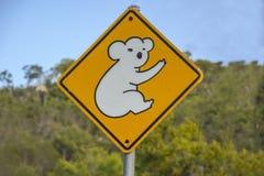 Προειδοποιητικό σημάδι Koala στο Queensland, Αυστραλία Στοκ εικόνα με δικαίωμα ελεύθερης χρήσης