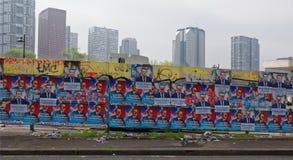 Προεκλογική διαφήμιση στο φράκτη στον Πρόεδρο Kennedy ` s Ave στοκ εικόνα