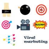 Προερχόμενα από ιό εικονίδια μάρκετινγκ Στοκ εικόνα με δικαίωμα ελεύθερης χρήσης