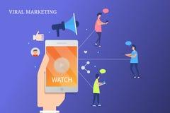 Προερχόμενο από ιό μάρκετινγκ, ακροατήριο που προσέχει το προερχόμενο από ιό τηλεοπτικό περιεχόμενο στο smartphone στοκ εικόνες