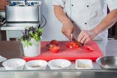προετοιμάζεται στην κινηματογράφηση σε πρώτο πλάνο κουζινών μιας κοπής χεριών vegetabl Στοκ Εικόνες