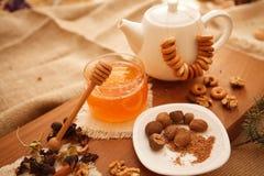 Προετοιμάστε τα νόστιμα μπισκότα οικογενειακά καρύδια έννοιας σύνθεσης μπουλονιών Στοκ Εικόνες