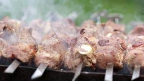 Προετοιμασία ενός shish kebab απόθεμα βίντεο