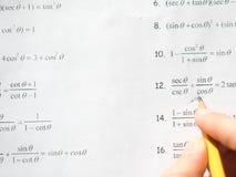 Προετοιμασία εργασίας Math και άλγεβρας Στοκ Εικόνες
