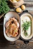 Προετοιμασία του κοτόπουλου με τα καρυκεύματα Στοκ Εικόνες
