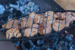 Προετοιμασία του κρέατος σε ένα δικτυωτό πλέγμα Στοκ φωτογραφίες με δικαίωμα ελεύθερης χρήσης