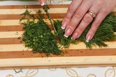 Προετοιμασία τροφίμων - τεμαχισμός του άνηθου με το μαχαίρι στοκ εικόνες