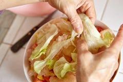 Προετοιμασία των λαχανικών για τη σαλάτα Στοκ Εικόνες