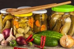 Προετοιμασία των ξινών αγγουριών στην κουζίνα βάζο αγγουριών που παστών Εγχώρια κονσερβοποιώντας λαχανικά Ζωή στο αγρόκτημα Στοκ φωτογραφία με δικαίωμα ελεύθερης χρήσης