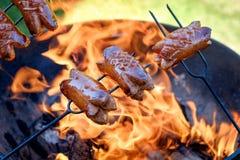 Προετοιμασία των λουκάνικων στην πυρκαγιά στρατόπεδων Στοκ φωτογραφία με δικαίωμα ελεύθερης χρήσης