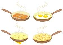 Προετοιμασία των πιάτων σε ένα τηγανίζοντας τηγάνι Τα αυγά, πατάτες, τηγανίτες, ψάρια είναι τηγανισμένα Νόστιμα και θρεπτικά τρόφ ελεύθερη απεικόνιση δικαιώματος