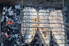 Προετοιμασία των ψαριών στη σχάρα Η αργή καύση των ανθράκων Στοκ φωτογραφίες με δικαίωμα ελεύθερης χρήσης
