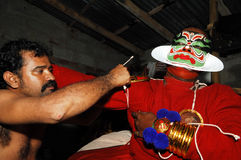 προετοιμασία kathakali χορού Στοκ εικόνες με δικαίωμα ελεύθερης χρήσης