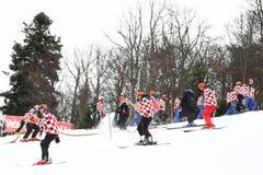 Προετοιμασία Slalom των ατόμων Παγκόσμιου Κυπέλλου Audi FIS του τρεξίματος σκι Στοκ φωτογραφία με δικαίωμα ελεύθερης χρήσης