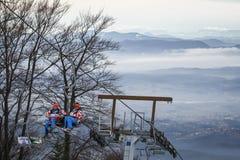 Προετοιμασία Slalom των ατόμων Παγκόσμιου Κυπέλλου Audi FIS του τρεξίματος σκι Στοκ Εικόνα