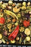Προετοιμασμένος στα μαύρα παν λαχανικά στοκ φωτογραφίες με δικαίωμα ελεύθερης χρήσης