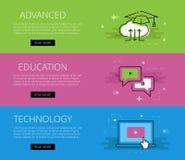 Προηγμένη τεχνολογία εκπαίδευσης εμβλήματα που τίθενται δ&io απεικόνιση αποθεμάτων