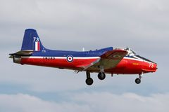 Προηγούμενος αεριωθούμενος κοσμήτορας Τ ΤΣΕ της Royal Air Force RAF αεριωθούμενα αεροσκάφη εκπαιδευτών γ-JPVA 5A XW289 στην προσέ στοκ φωτογραφίες