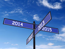 Προηγούμενο και νέο έτος Roadsign Στοκ Φωτογραφία