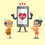 Προθέρμανση αθλητικών ανώτερη ανθρώπων κινούμενων σχεδίων με το smartphone διανυσματική απεικόνιση