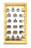 Προθήκη γυαλιού για το ψήσιμο, που γεμίζουν cupcakes, και τα κέικ Στοκ φωτογραφίες με δικαίωμα ελεύθερης χρήσης