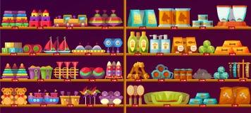 Προθήκη με τα παιχνίδια μωρών ή παιδιών, ζωικά στοιχεία Στοκ φωτογραφία με δικαίωμα ελεύθερης χρήσης