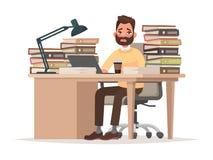 Προθεσμίες στην εργασία Κουρασμένο άτομο εργαζομένων γραφείων στο γραφείο του με ένα lo Στοκ Εικόνες