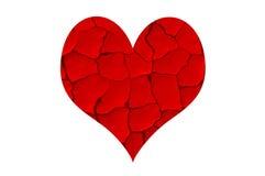 προκαλεσμένο σκασίματα ξηρό κόκκινο καρδιών Στοκ Εικόνες