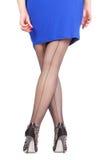 Προκλητικά μοντέρνα πόδια στις μαύρες καθαρές γυναικείες κάλτσες Στοκ Φωτογραφία