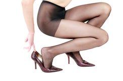 Προκλητικά πόδια στις γυναικείες κάλτσες Στοκ φωτογραφία με δικαίωμα ελεύθερης χρήσης