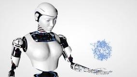 Προκλητική αρρενωπή γυναίκα ρομπότ Μελλοντική τεχνολογία Cyborg, τεχνητή νοημοσύνη, τεχνολογία υπολογιστών, επιστήμη humanoid