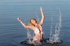 προκλητική γυναίκα μπανιερών Στοκ Φωτογραφία