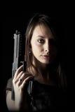 προκλητική γυναίκα πυροβόλων όπλων στοκ εικόνες