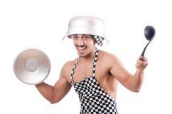 Προκλητικός αρσενικός μάγειρας που απομονώνεται Στοκ Εικόνες