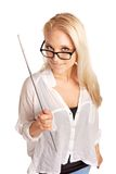 Προκλητικός εκπαιδευτικός κολλεγίου που κρατά ένα ραβδί Στοκ Φωτογραφία