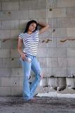 προκλητικός τοίχος brunette 4 ομά Στοκ Εικόνες