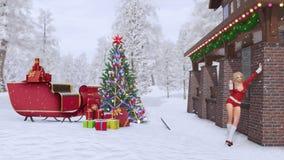 Προκλητικό κορίτσι στο κοστούμι Άγιου Βασίλη κοντά στο σπίτι Χριστουγέννων απεικόνιση αποθεμάτων