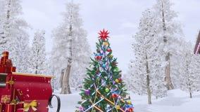 Προκλητικό κορίτσι στο κοστούμι Santa κοντά στο υπαίθριο χριστουγεννιάτικο δέντρο ελεύθερη απεικόνιση δικαιώματος