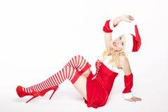 Προκλητικό κορίτσι Χριστουγέννων Στοκ Εικόνες