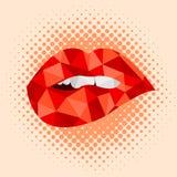 Προκλητικό φιλί τέχνης σχεδίου χειλικής ζωηρόχρωμο απεικόνισης δαγκώματος κόκκινο Στοκ Εικόνες