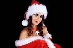προκλητικό χιόνι κοριτσιών νέο έτος Χριστουγέννων στοκ εικόνες
