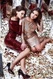 Προκλητικό όμορφο γυναικών δύο λαμπρό τσέκι φορεμάτων ένδυσης μεμβρανοειδές χρυσό κόκκινο Στοκ Φωτογραφίες