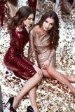 Προκλητικό όμορφο γυναικών δύο λαμπρό τσέκι φορεμάτων ένδυσης μεμβρανοειδές χρυσό κόκκινο Στοκ Εικόνες