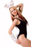Προκλητικό playgirl με bunny τα αυτιά που απομονώνεται Στοκ Εικόνες