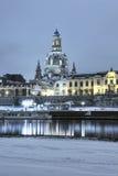 Προκυμαία της Δρέσδης τη νύχτα το χειμώνα Στοκ φωτογραφίες με δικαίωμα ελεύθερης χρήσης