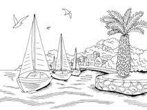 Προκυμαιών αποβαθρών γραφικό γιοτ θάλασσας διάνυσμα απεικόνισης σκίτσων τοπίων κόλπων μαύρο άσπρο απεικόνιση αποθεμάτων