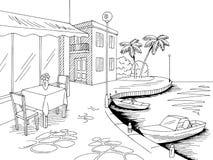Προκυμαιών αποβαθρών καφέδων γραφικό θάλασσας διάνυσμα απεικόνισης σκίτσων τοπίων κόλπων μαύρο άσπρο ελεύθερη απεικόνιση δικαιώματος